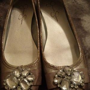 Jessica Simpson jeweled ballet flats sz 7.5